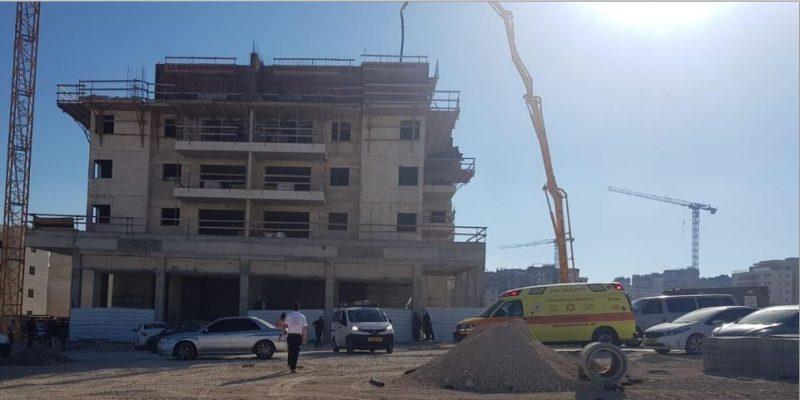 תאונת עבודה באתר בניה - צילום איחוד הצלה